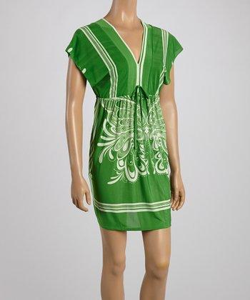 Green Butterfly Surplice Dress