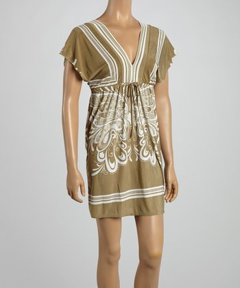 Tan Butterfly Surplice Dress