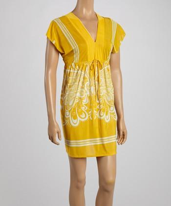 Yellow Butterfly Surplice Dress