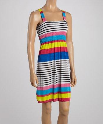 Light Pink & Blue Stripe Smocked Dress