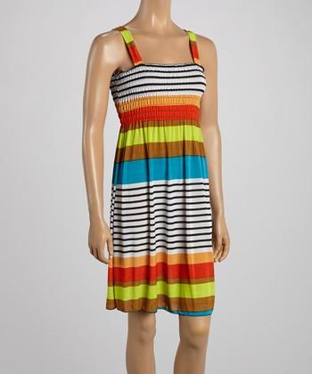 Orange & Teal Stripe Smocked Dress