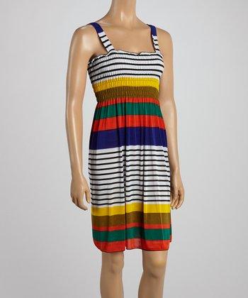 Yellow & Red Stripe Smocked Dress
