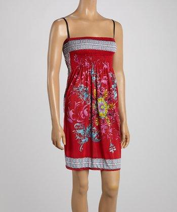 Red Floral Smocked Dress