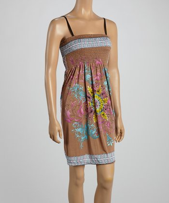 Tan Floral Smocked Dress