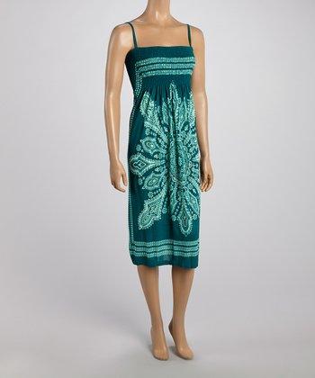 Teal Tapestry Smocked Dress