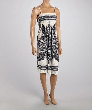 White Tapestry Smocked Dress