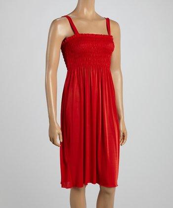 Red Smocked Sleeveless Dress