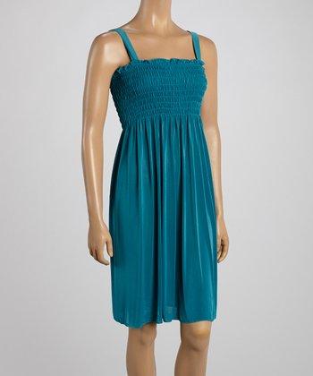Teal Smocked Sleeveless Dress