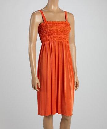 Orange Smocked Sleeveless Dress