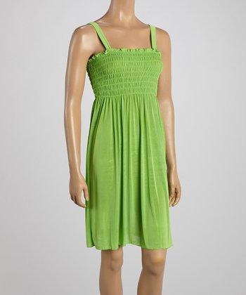 Lime Green Smocked Sleeveless Dress