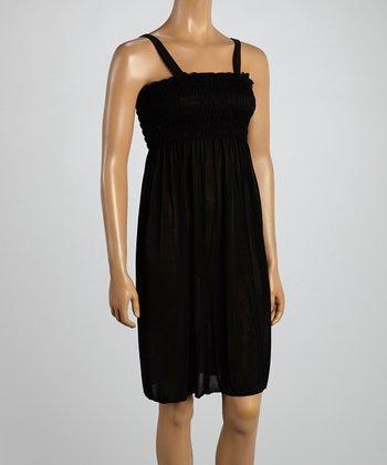Black Smocked Sleeveless Dress