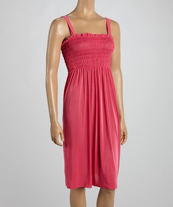 Pink Smocked Sleeveless Dress