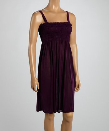 Purple Smocked Sleeveless Dress