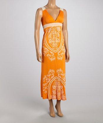 Orange Tapestry Lace Strap Maxi Dress