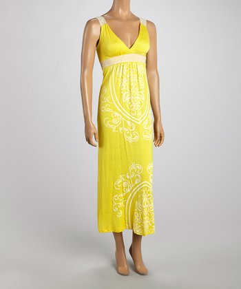 Yellow Tapestry Lace Strap Maxi Dress
