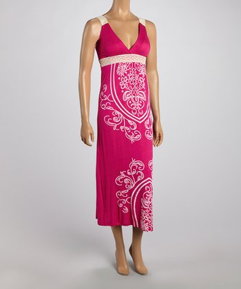 Pink Tapestry Lace Strap Maxi Dress