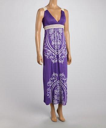 Purple Tapestry Lace Strap Maxi Dress