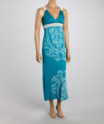 Teal Tapestry Lace Strap Maxi Dress
