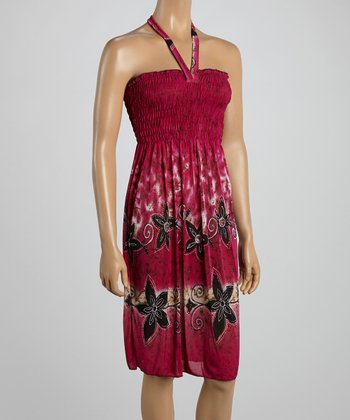 Fuchsia Tropics Smocked Halter Dress