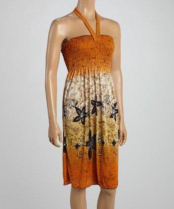 Orange Tropics Smocked Halter Dress