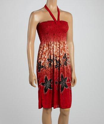 Red Tropics Smocked Halter Dress