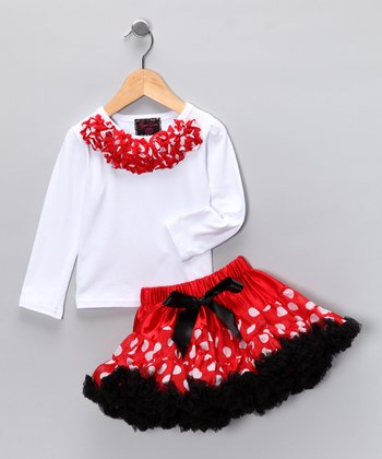White Rosette Top & Red Polka Dot Pettiskirt - Toddler & Girls