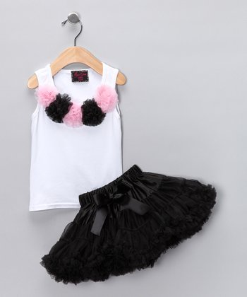 White Rosette Tank & Black Pettiskirt - Toddler & Girls