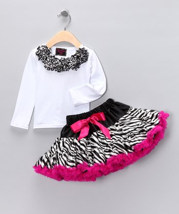 White Rosette Top & Zebra Pettiskirt - Toddler & Girls