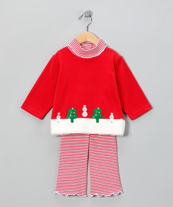 Red Velour Mock Neck Top & Pink Pants - Infant, Toddler & Girls