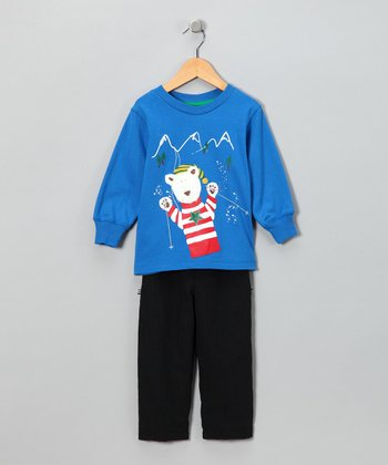 Cobalt Bear Tee & Black Lined Pants - Toddler