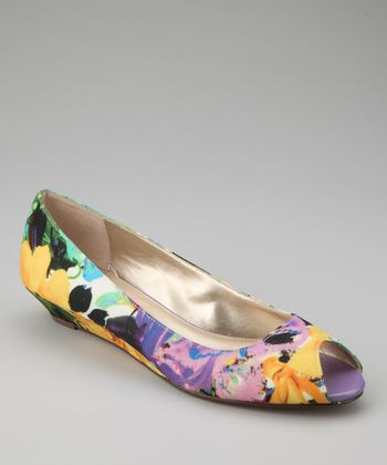 Purple & Yellow Floral Sylvana Peep-Toe Flat