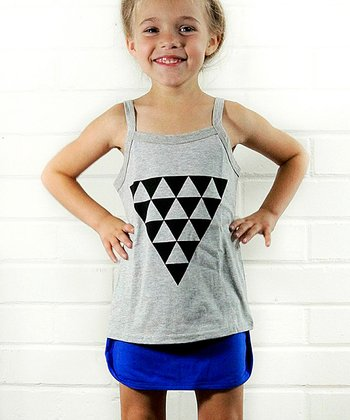 Gray Triangle Tank & Blue Skirt - Girls