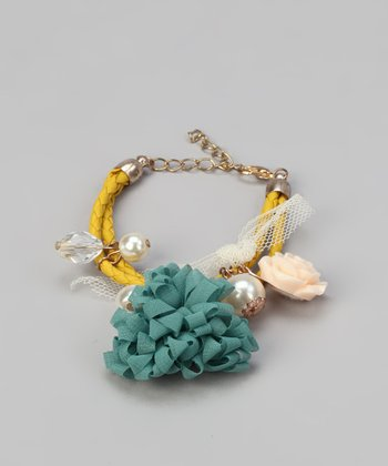 Yellow & Blue Rosette Braided Bracelet