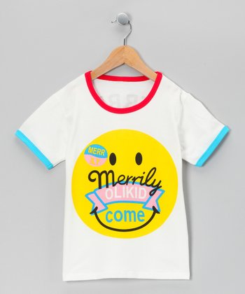 White Smiley Face Tee - Toddler & Kids