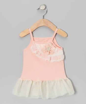 Pink Polka Dot Lace Ruffle Dress - Infant & Toddler