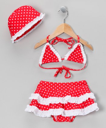 Red & White Polka Dot Skirted Bikini & Bonnet - Toddler & Girls
