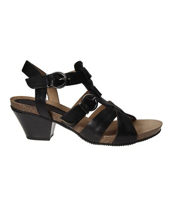Black Buckle T-Strap Sandal