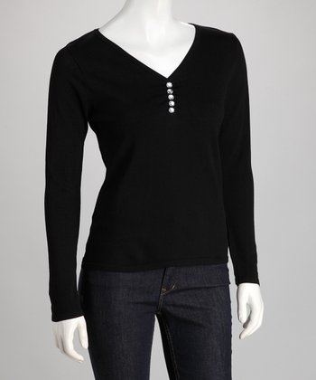 Black Rhinestone V-Neck Sweater