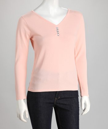 Orange Rhinestone V-Neck Sweater