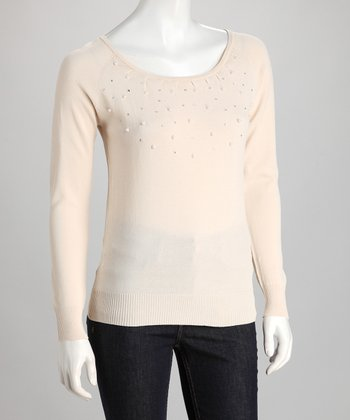 Beige Pearl Scoop Neck Top