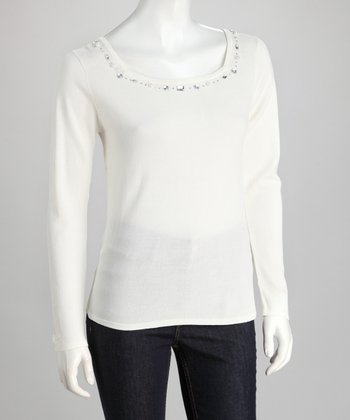 Beige Rhinestone Square Neck Sweater