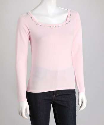 Pink Rhinestone Square Neck Sweater