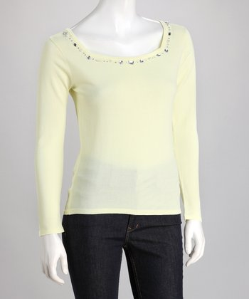 Yellow Rhinestone Square Neck Sweater