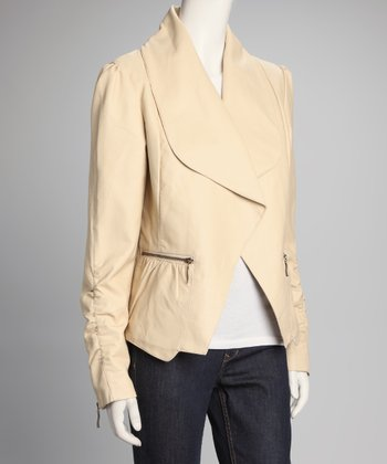 Tan Shirred Jacket