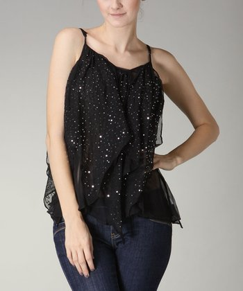 Black Sequin Ruffle Top - Women