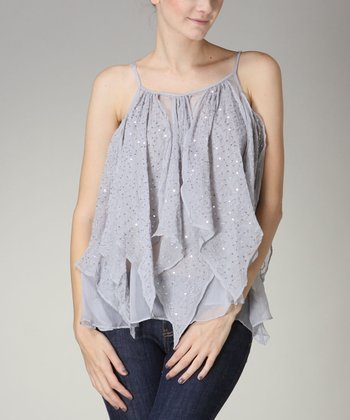 Gray Sequin Ruffle Top - Women