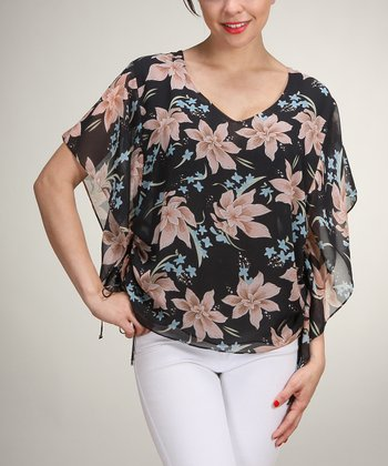 Black Floral Cape-Sleeve Top - Women