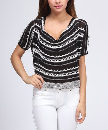 Black & White Stripe Crop Top - Women