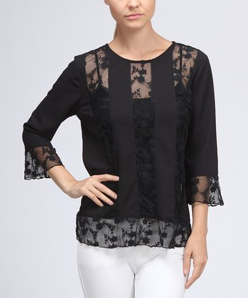 Black Lace Stripe Top - Women