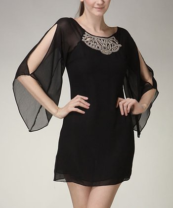 Black Bead Sheer-Sleeve Dress - Women